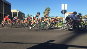 Racers rounding the first corner