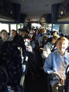 Students packed in the bus.